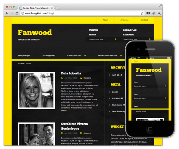 responsive theme wordpress fanwood