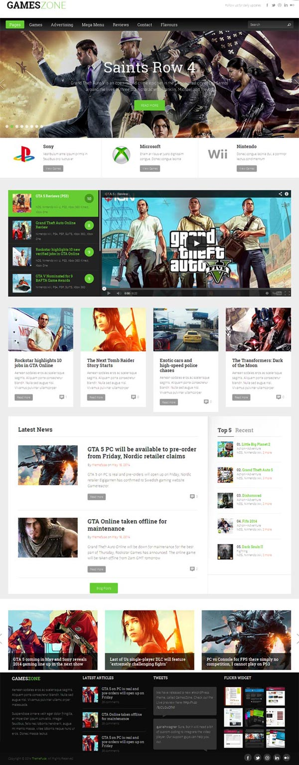 Gamezone wordpress theme