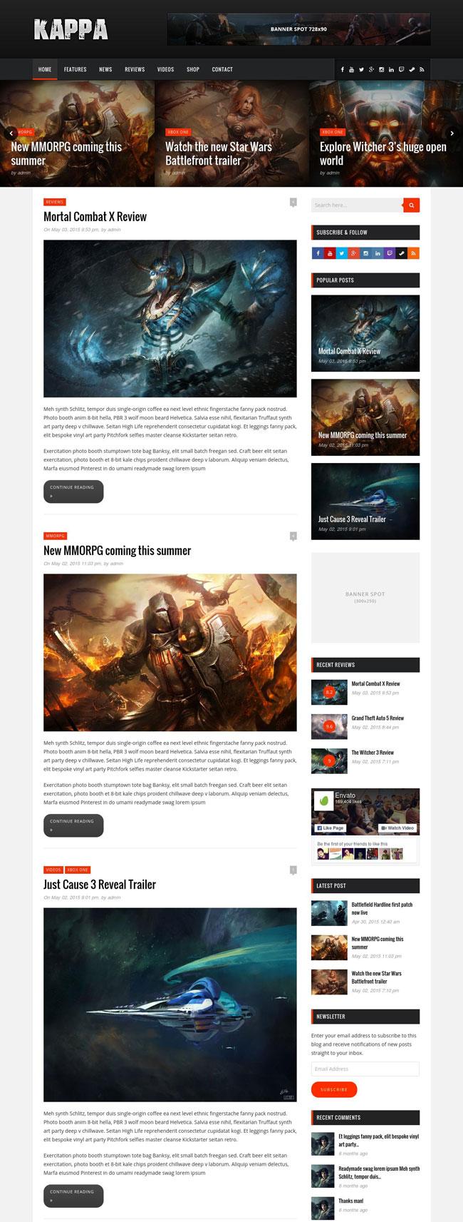 kappa gaming wordpress theme