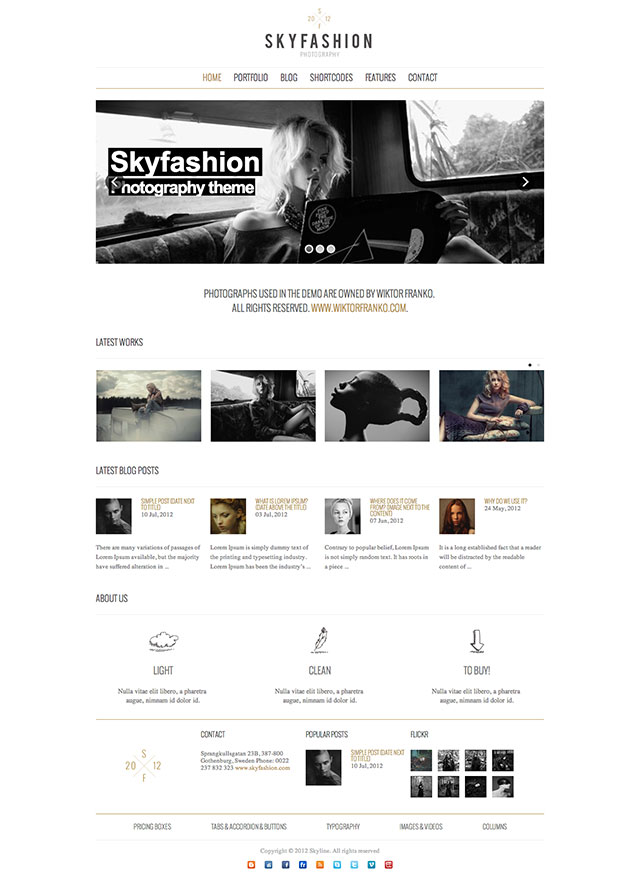 skyfashion minimalist wordpress themes
