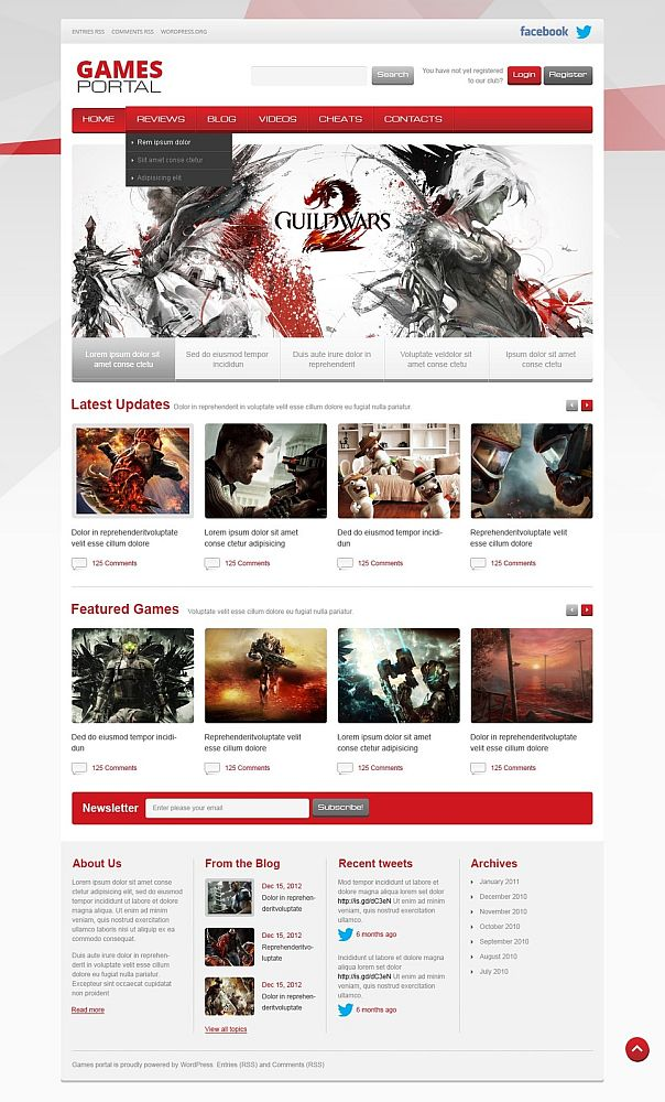 games portal gaming wordpress themes