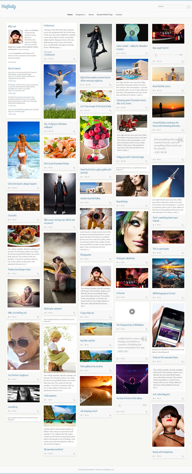 pinfinity pinterest wordpress theme