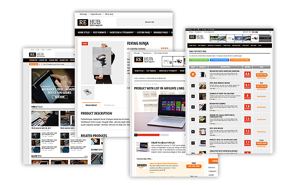 re-hub-affiliate-wordpress-theme-different-styles
