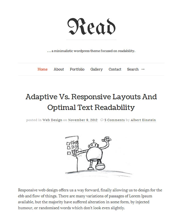 read minimalist wordpress themes
