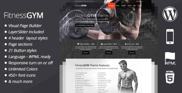 fitnessGym wordpress theme