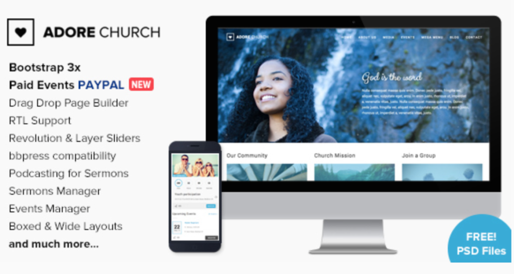 adore church wordpress theme