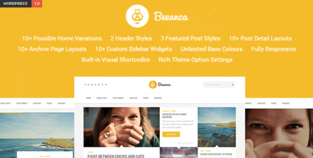 beeanca modern blogging theme