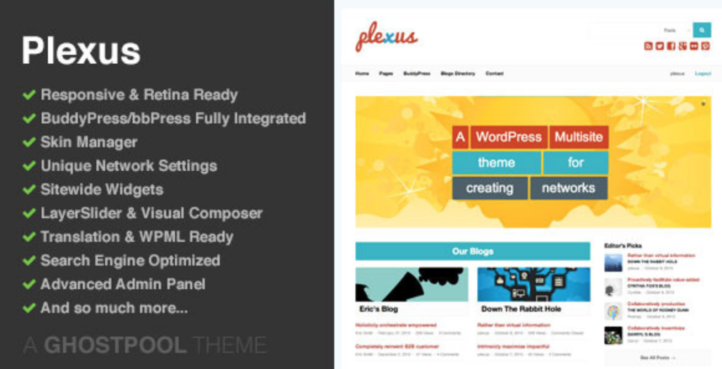 plexus buddypress wp theme