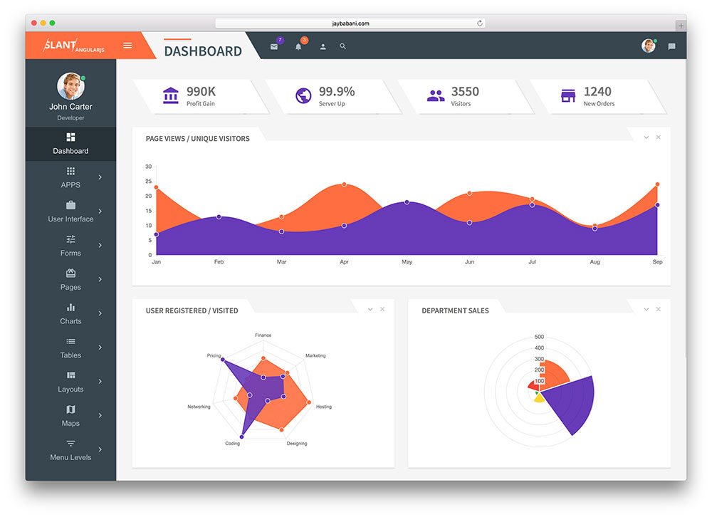 slant angular web app template
