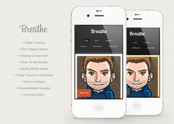 breathe wp mobile template