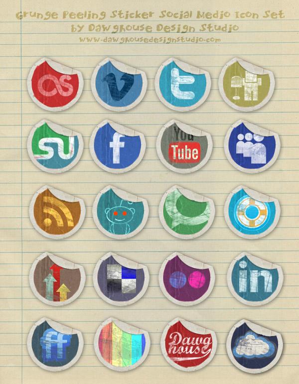 grunge-peeling-stickers-icon-set
