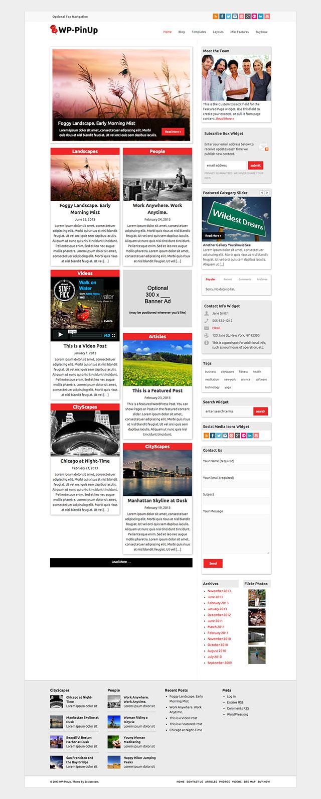 wp pin up wordpress theme