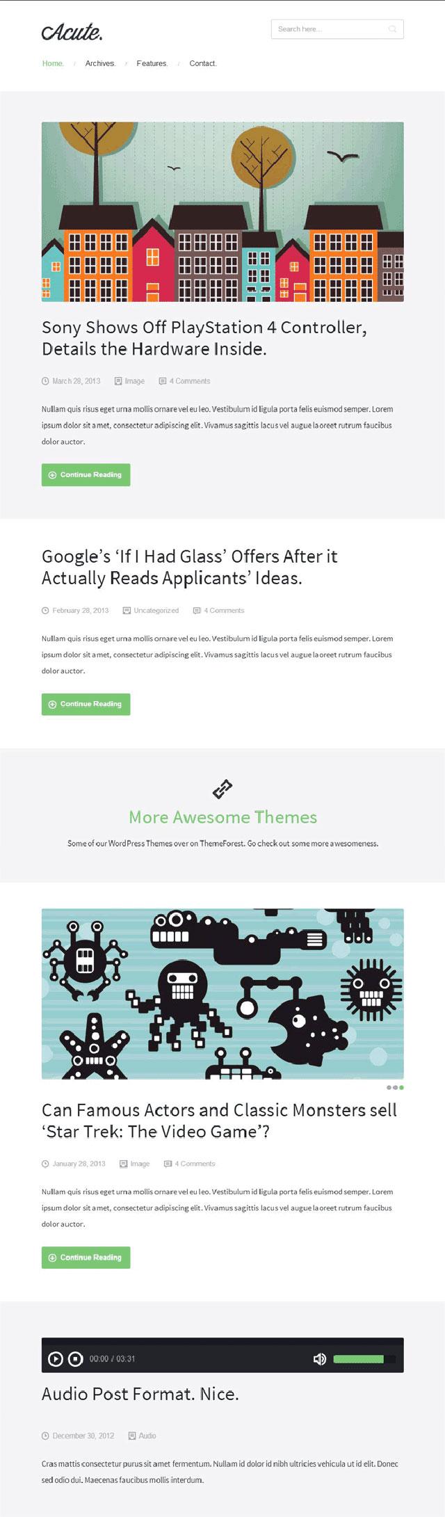 acute tumblr style wordpress theme