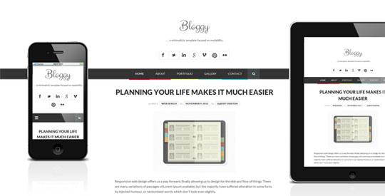 bloggy wp wordpress minimal themes