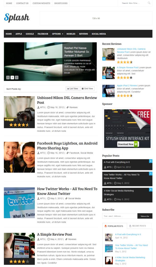 splash wordpress theme